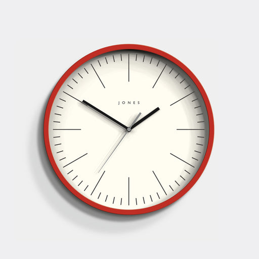 Modern Red Wall Clock - Bright Colourful - Jones Clocks - JSPAR102ER