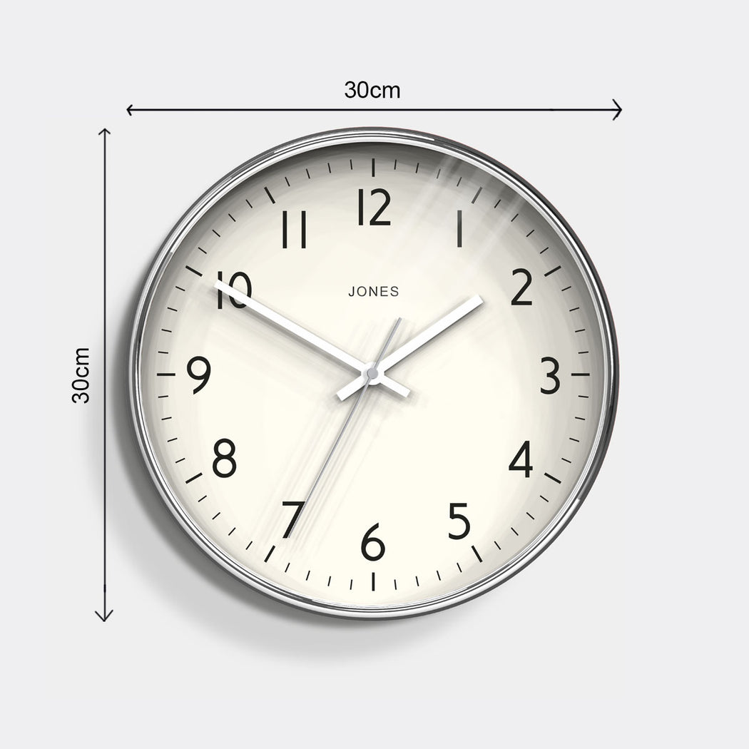 Modern Silver Wall Clock - Jones Clocks - JPEN52CH