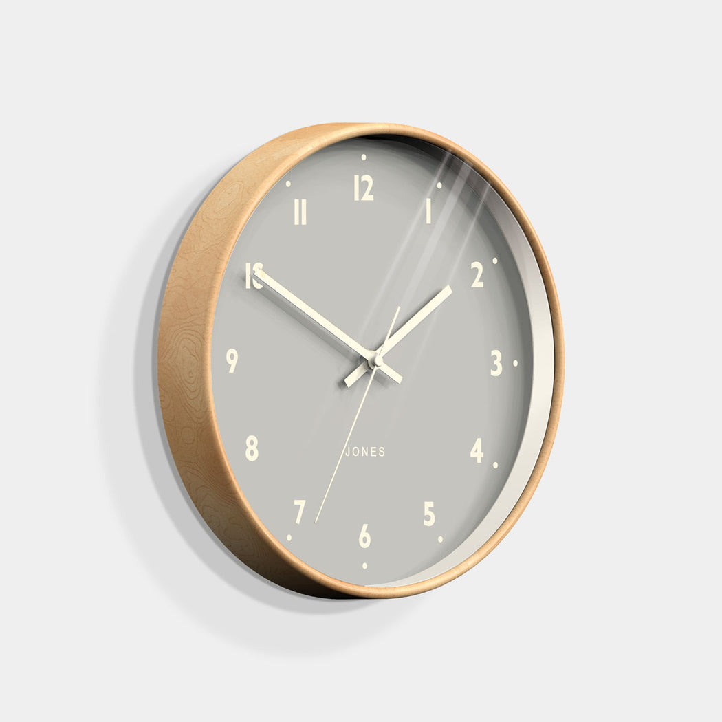 Medium Modern Wall Clock | Wood and Grey | Jones Clocks | Studio 516 - skew