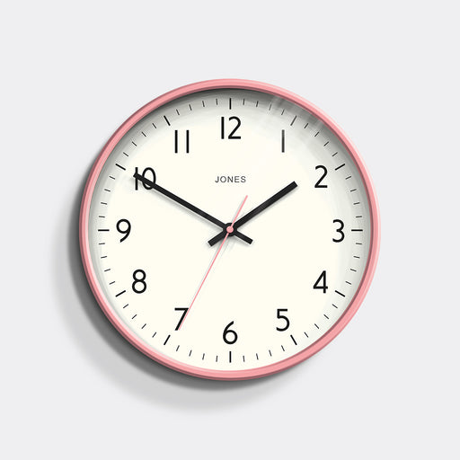 Medium Modern Wall Clock | Pink | Jones Clocks | Studio 52 - front