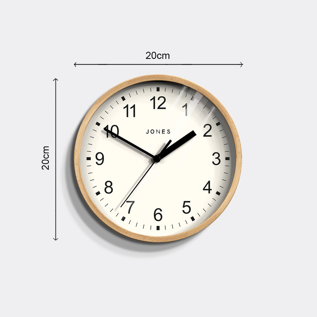 Small Modern Wall Clock | Wood | Jones Clocks | Spin 136  - size
