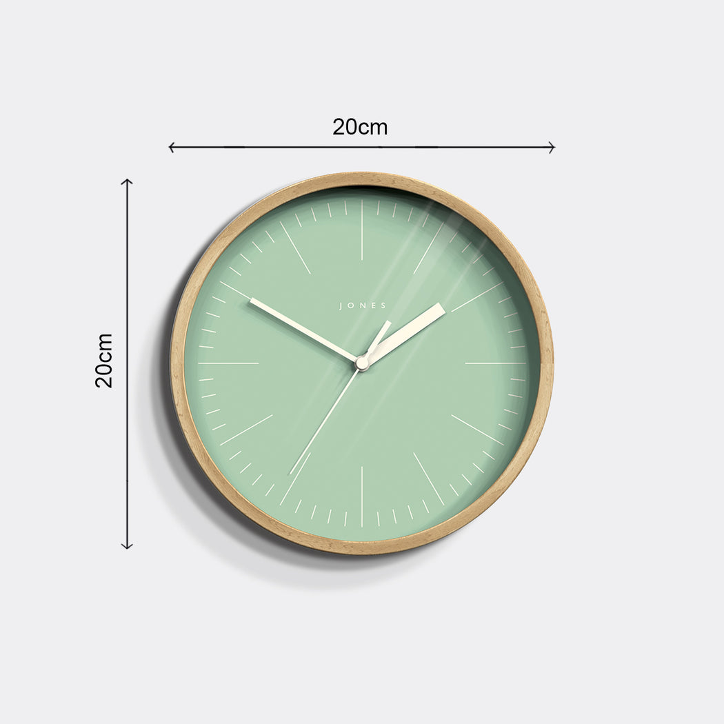 Small Modern Wall Clock | Wood and Green | Jones Clocks | Spin 18 - size