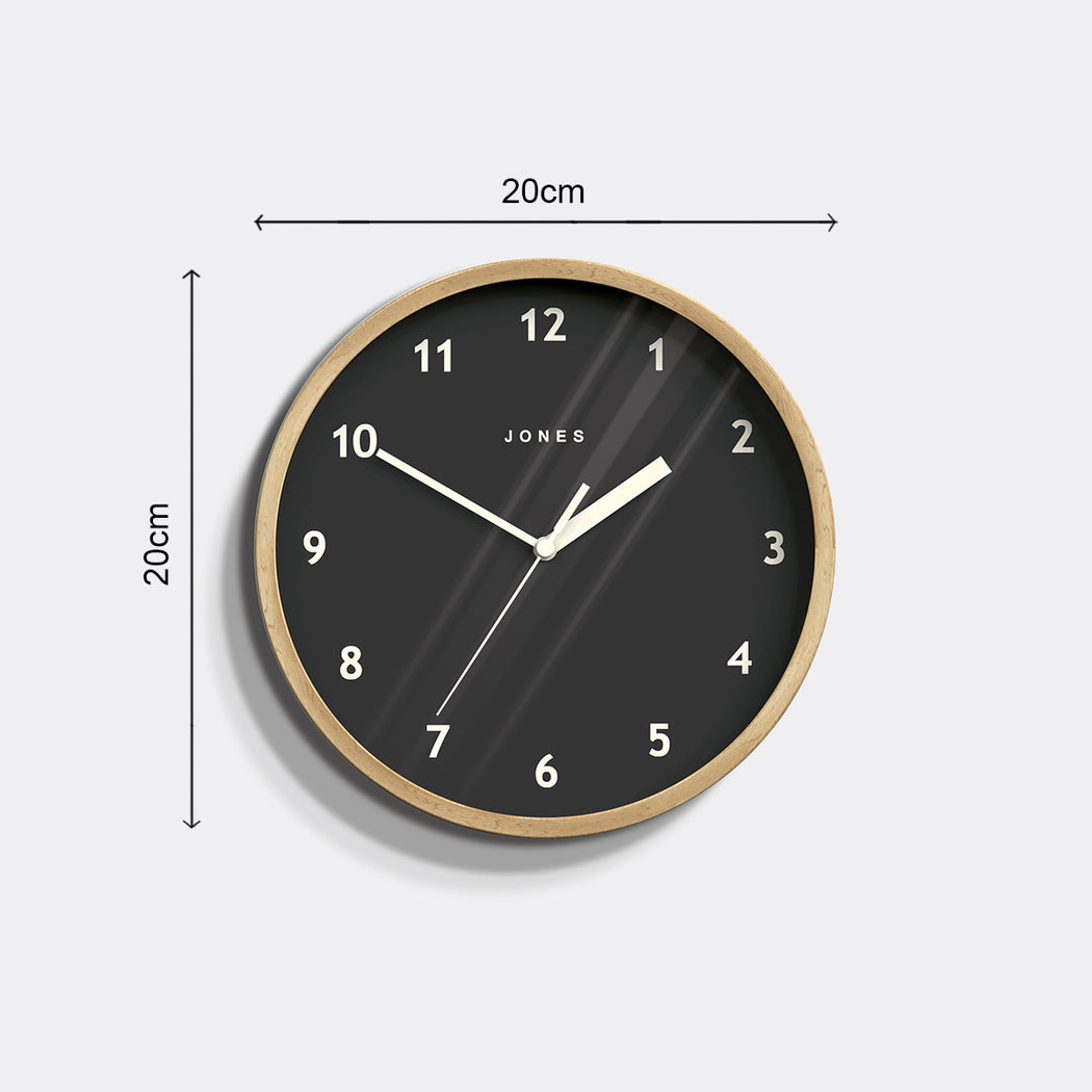 Small Modern Wall Clock | Wood and Grey | Jones Clocks | Spin 630 - size