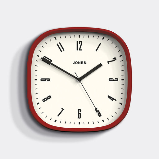 Red Wall Clock - Square - Jones Clocks - JMARV145R