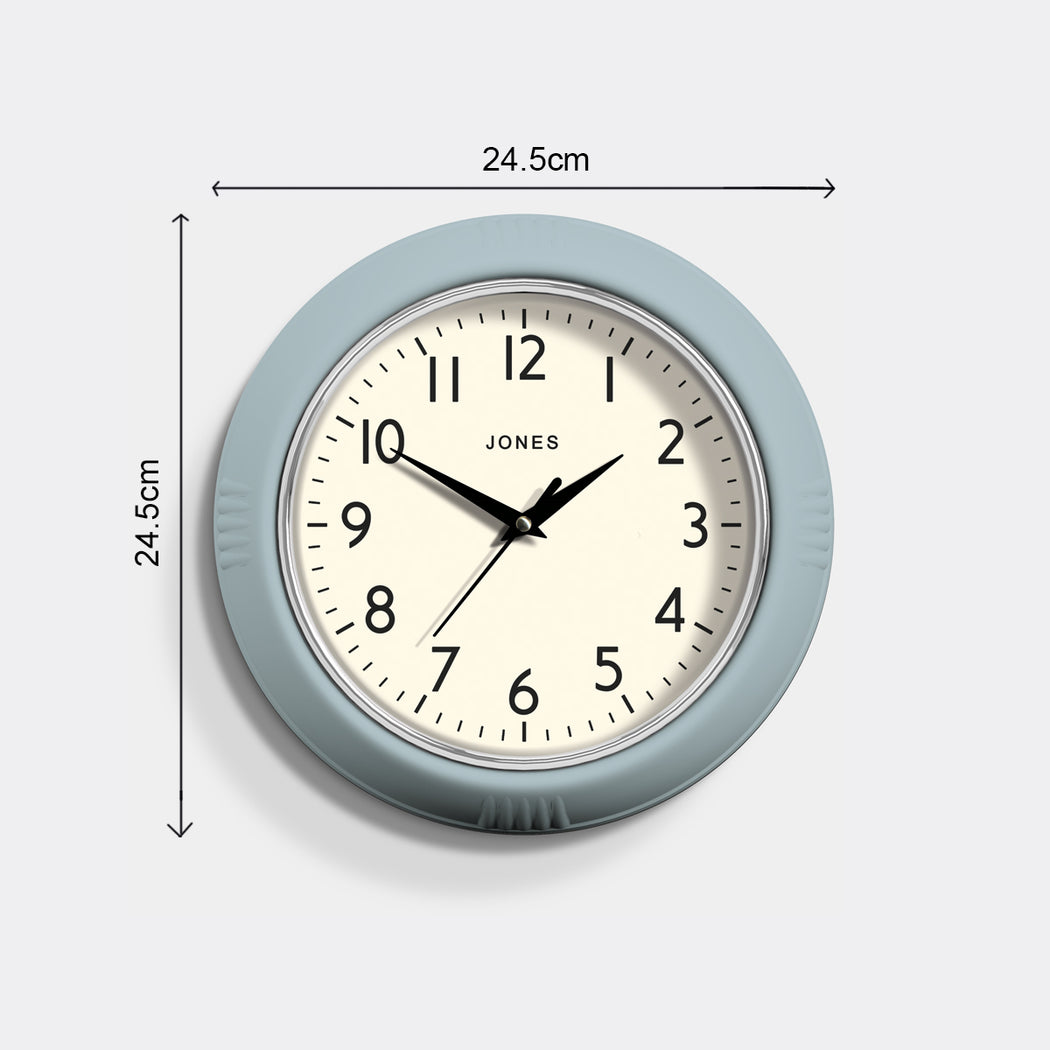 Retro Vintage Clear Blue Wall Clock - Jones Clocks - JKETC214CBL