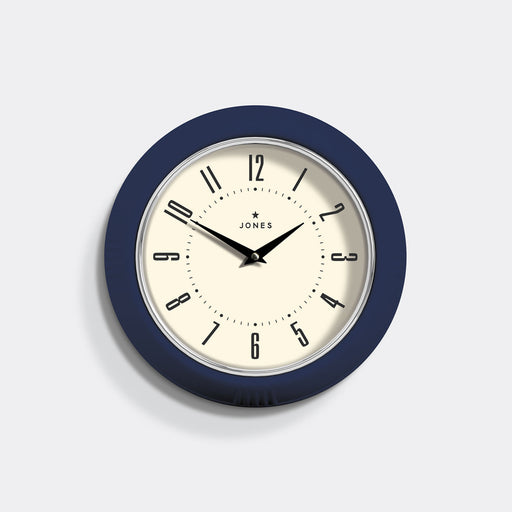 Retro Vintage Navy Blue Wall Clock - Jones Clocks - JKETC214IBL