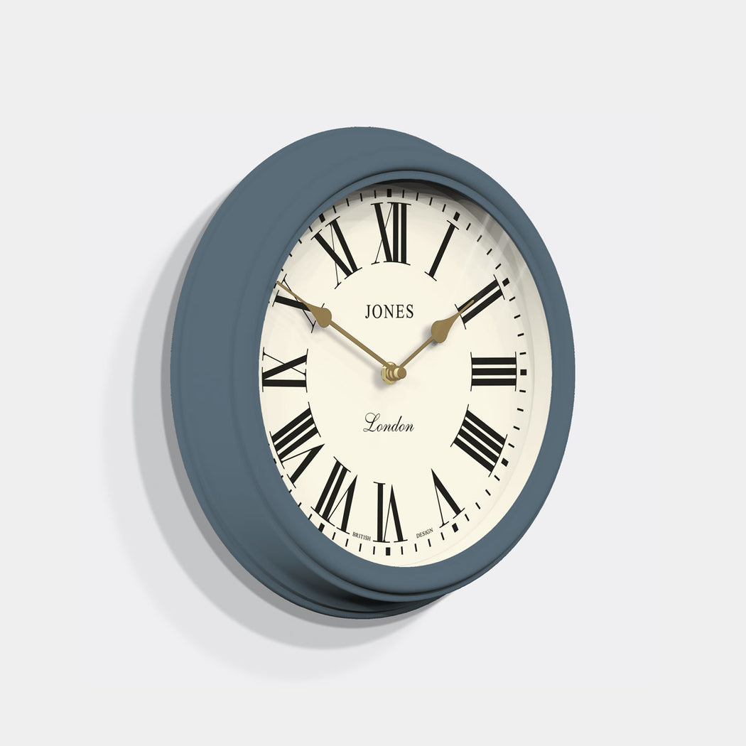 Roman Numeral Wall Clock - Classic Blue - Jones Clocks -JVEN319OBB