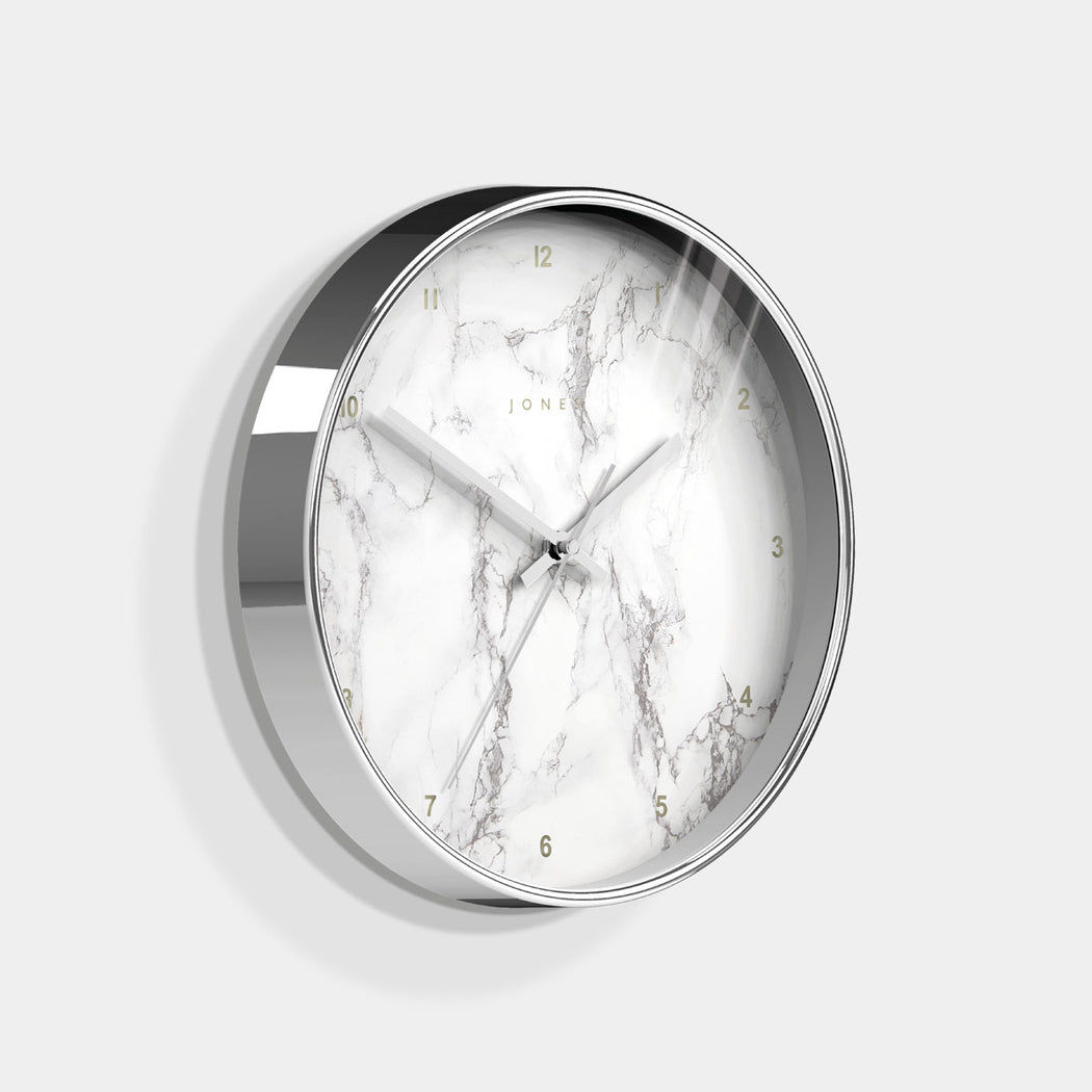 Medium Decorative Wall Clock | Silver | Jones Clocks | Studio 525 - skew