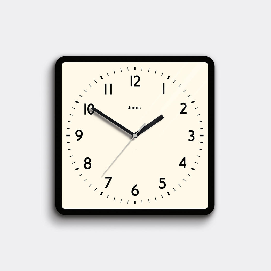 Square Black Wall Clock - Jones Clocks - JSHAC691K