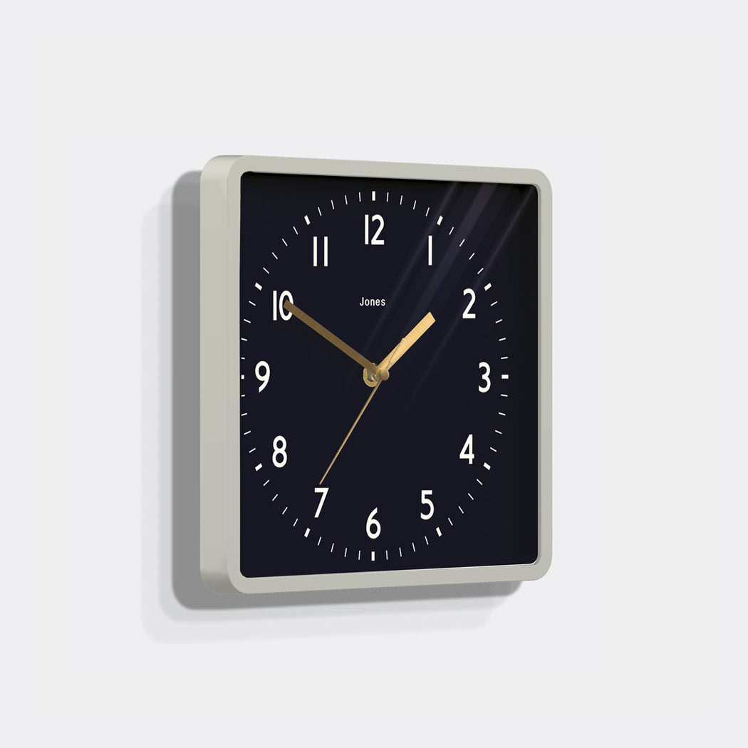 Square Grey Wall Clock - Jones Clocks - JSHAC702OGY