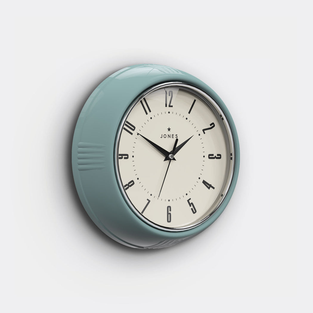 Teal Wall Clock - Vintage Retro - Jones Clocks - JKETC214TE