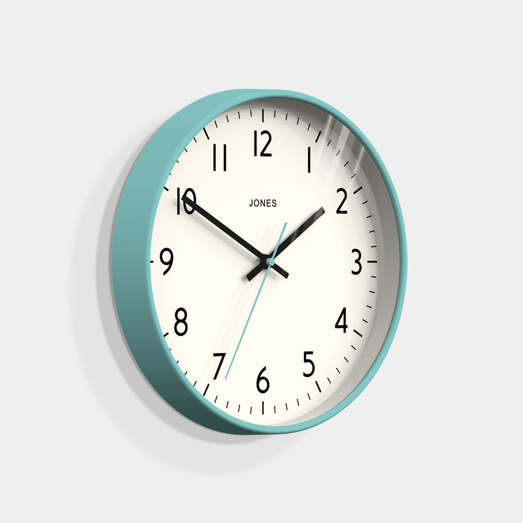 Medium Modern Wall Clock | Turquoise | Jones Clocks | Studio 52 - skew