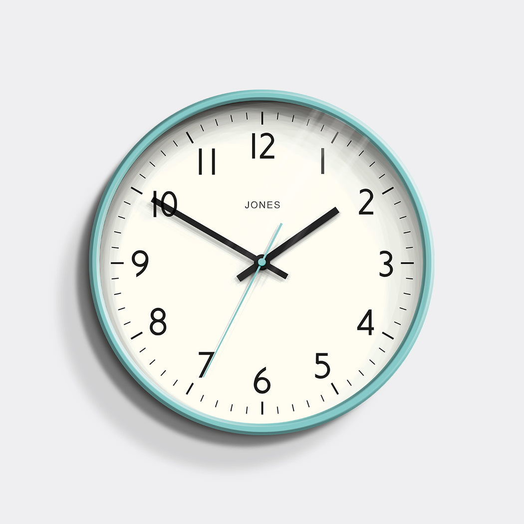 Medium Modern Wall Clock | Turquoise | Jones Clocks | Studio 52