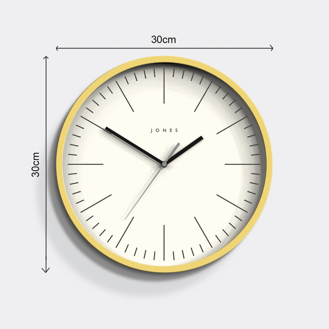 Yellow Wall Clock Bright Colour Jones Clocks