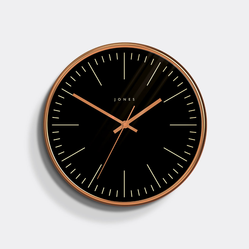 Medium Modern Wall Clock | Copper and Black | Jones Clocks | Studio 48