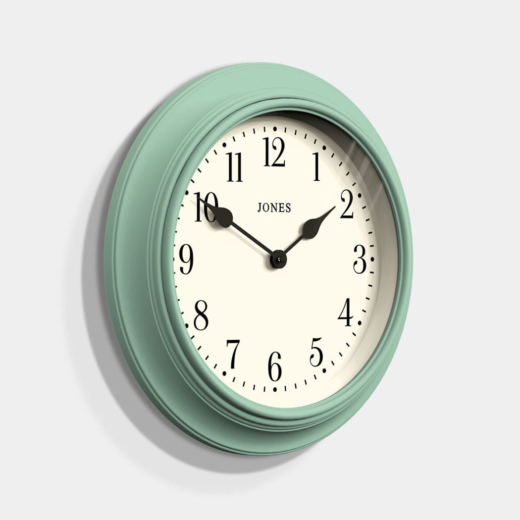 Large Classic Wall Clock | Duck Egg | Jones Clocks | Supper Club 144 - skew