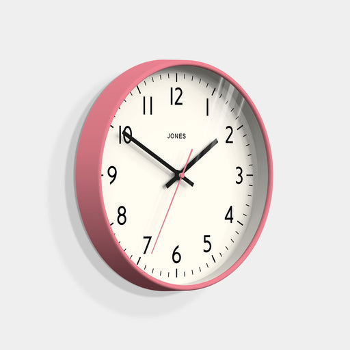 Medium Modern Wall Clock | Pink | Jones Clocks | Studio 52 - skew