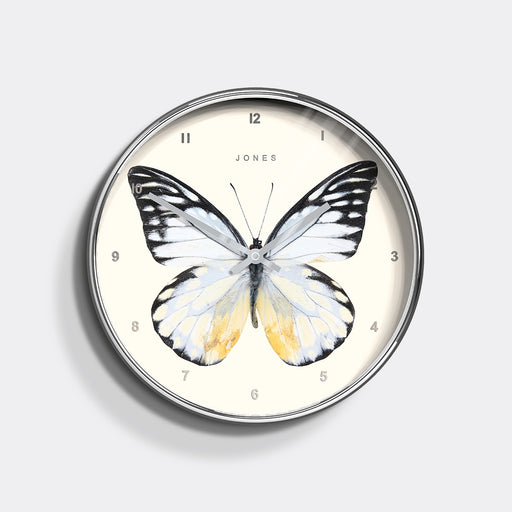 Medium Decorative Butterfly Wall Clock | Silver | Jones Clocks | Studio 440