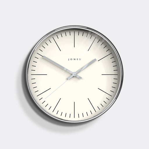Medium Contemporary Wall Clock | Silver | Jones Clocks | Studio 48