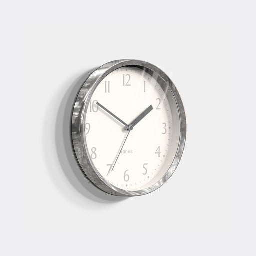 Small Contemporary Wall Clock | Silver | Jones Clocks | Dime 581 - skew
