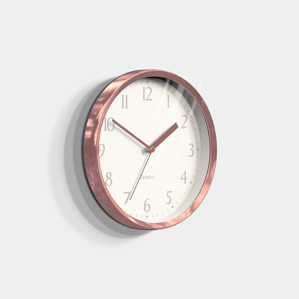 Small Contemporary Wall Clock | Copper | Jones Clocks | Dime 581 - skew