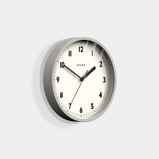 Small Modern Wall Clock | Grey | Jones Clocks | Spin 628 - skew