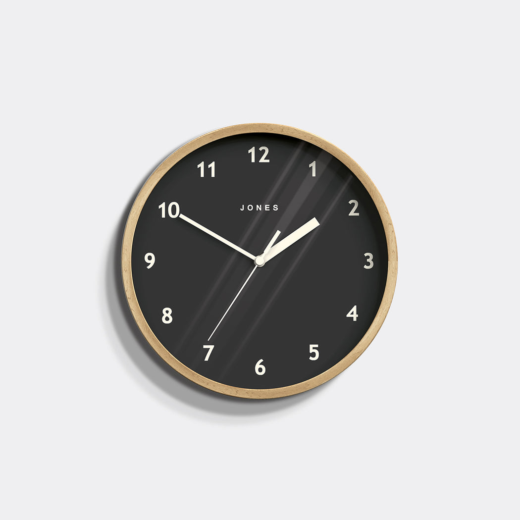 Small Modern Wall Clock | Wood and Grey | Jones Clocks | Spin 630