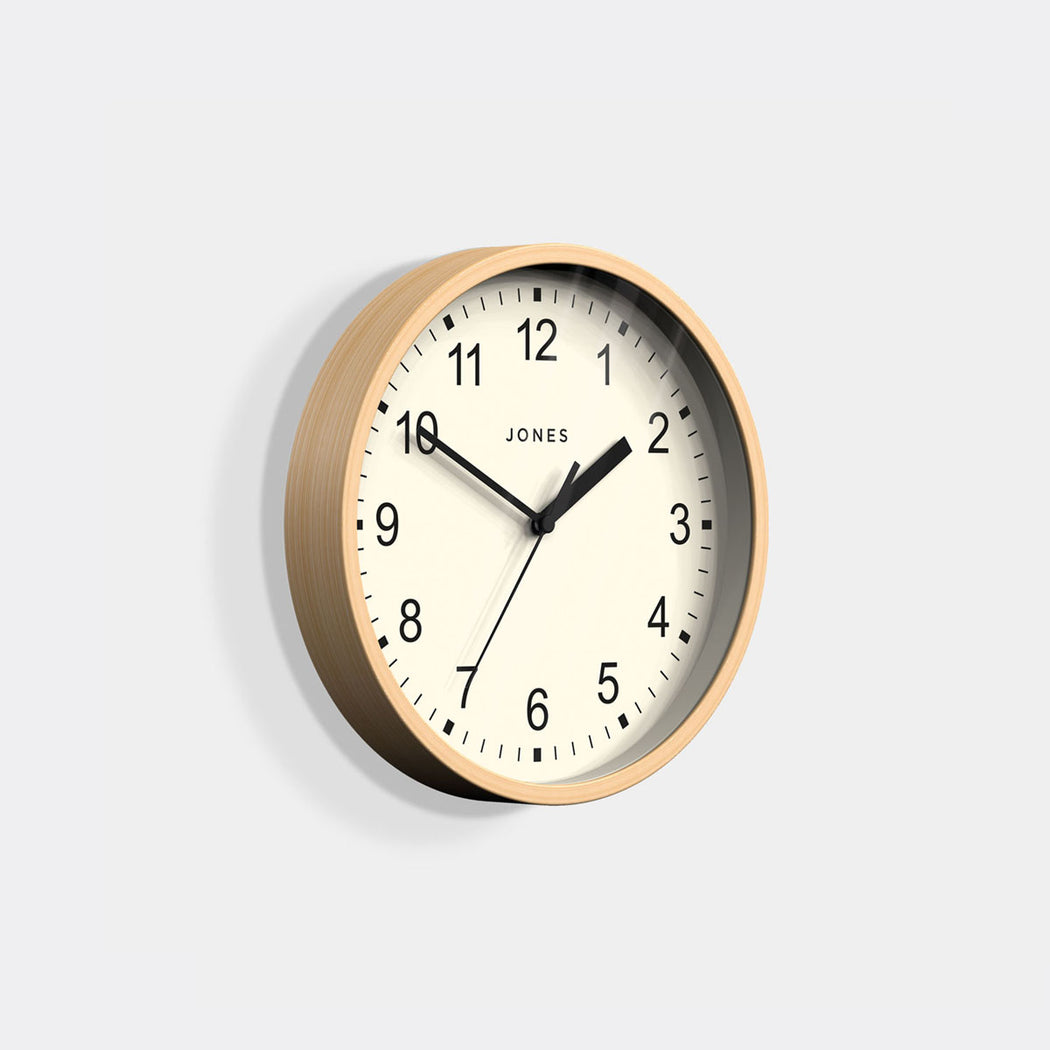 Small Modern Wall Clock | Wood | Jones Clocks | Spin 136 - skew