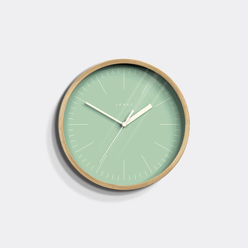 Small Modern Wall Clock | Wood and Green | Jones Clocks | Spin 18