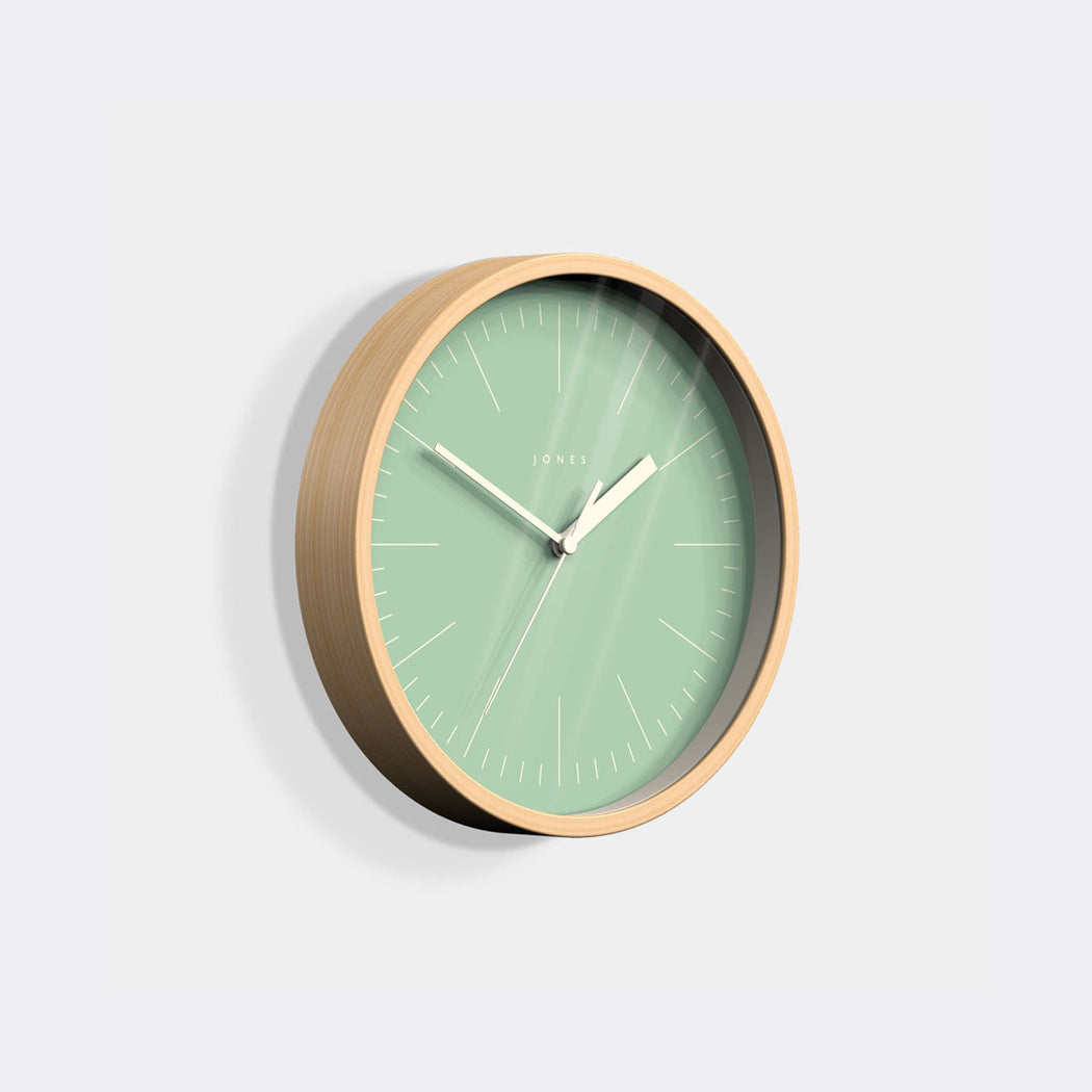Small Modern Wall Clock | Wood and Green | Jones Clocks | Spin 18 - skew