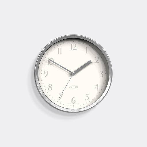 Small Contemporary Wall Clock | Silver | Jones Clocks | Dime 581