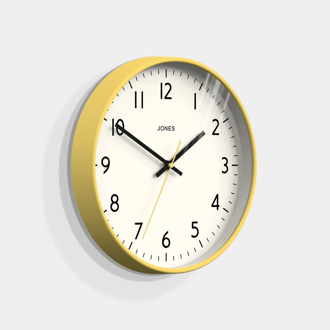 Medium Modern Wall Clock | Yellow | Jones Clocks | Studio 52 - skew