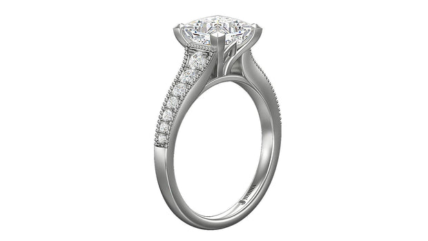 princess diamond Halo Engagement Ring - Jianna Jewelers