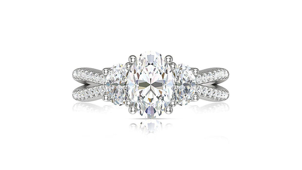 Oval shape diamond Three Stone Engagement Ring