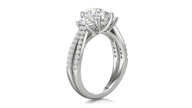 Oval shape diamond Three Stone Engagement Ring - Jianna Jewelers