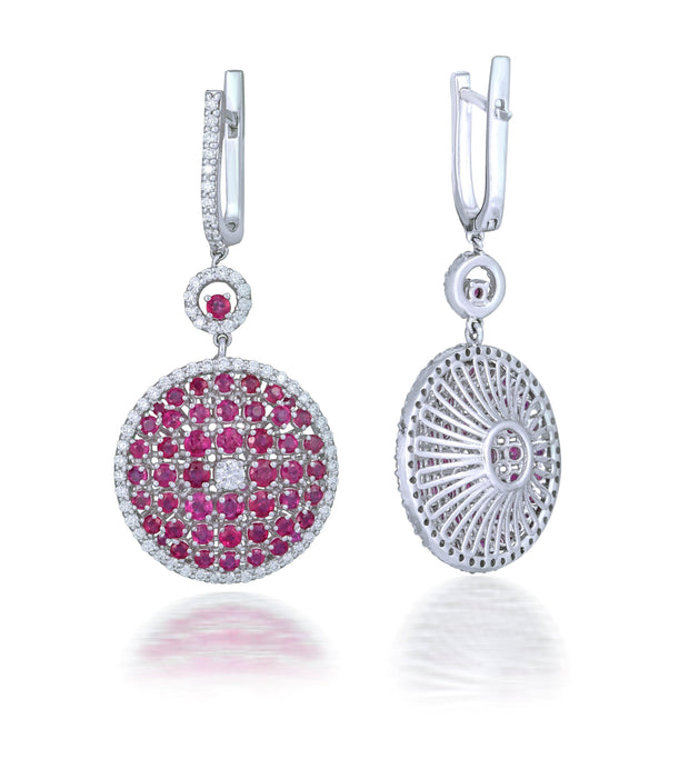 18kt diamond and ruby earrings