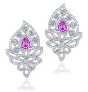 Pink sapphire with rose cut diamond earrings