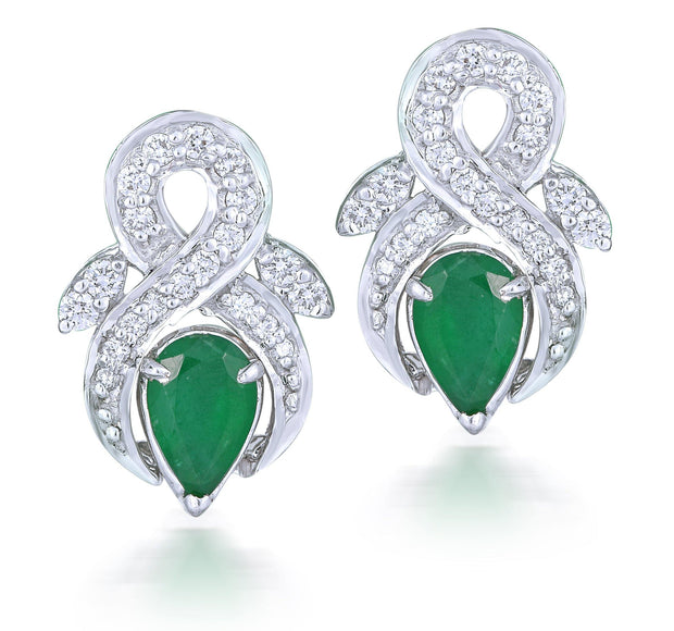 18kt Gold White Gold Diamond Earrings With Tear Drop Emerald Stone