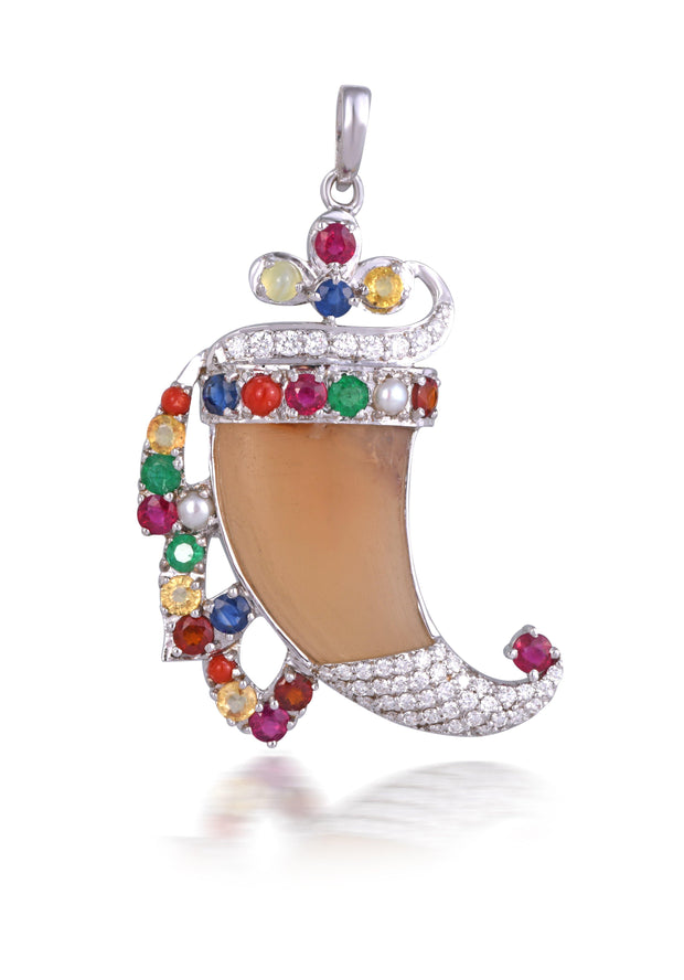 18kt diamond gemstone pendant