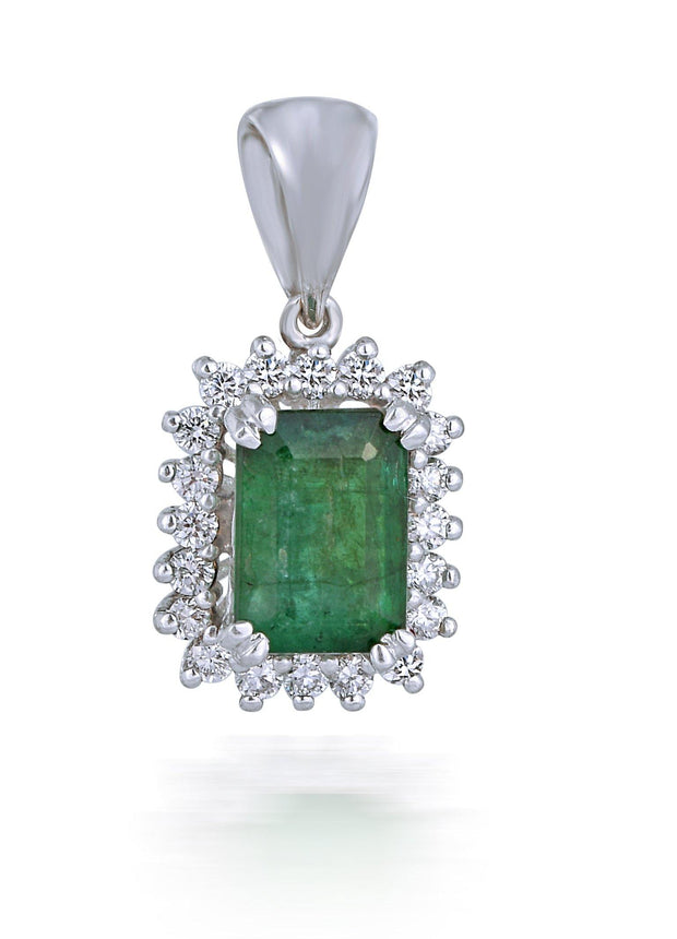 18kt diamond and  emerald pendant