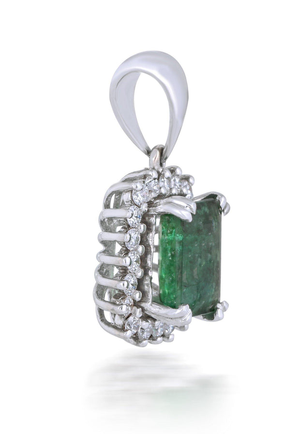 18kt diamond and  emerald pendant - Jianna Jewelers