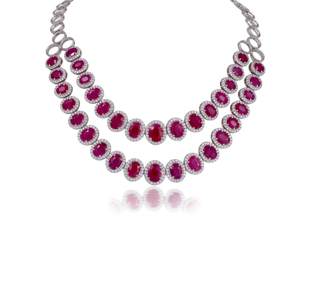 18kt diamond and ruby necklace