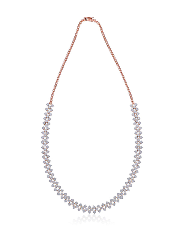 Round Diamond necklace set in 18kt rose gold