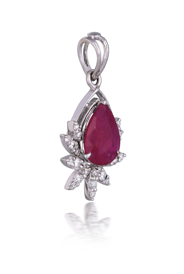 18kt diamond and ruby pendant