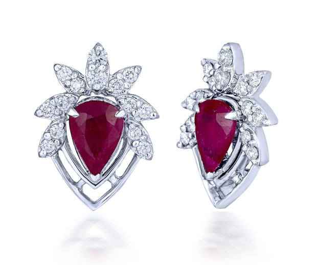 18 kt diamond and ruby earrings