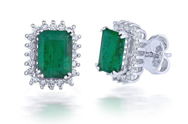 18 kt diamond and emerald earrings