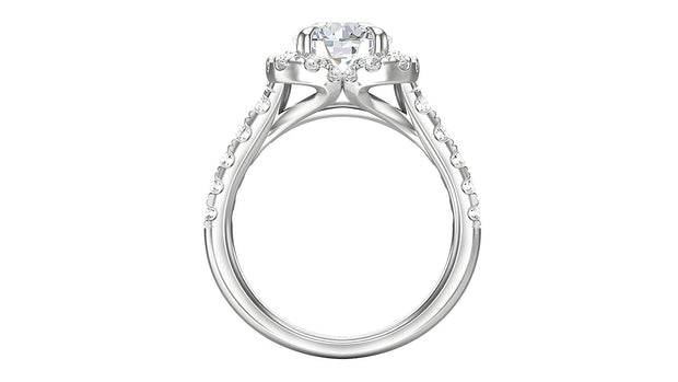 18kt Round shape diamond Halo Engagement Ring