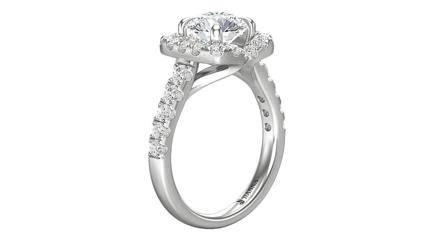 18kt Round shape diamond Halo Engagement Ring - Jianna Jewelers