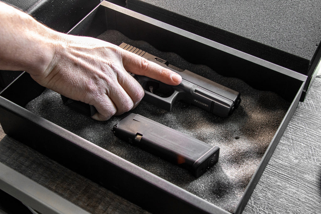 Glock in a quick access pistol safe