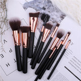 11 piece makeup brushes set in black